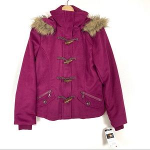 Delia's Toggle Hooded Faux Fur Lined Coat NWT